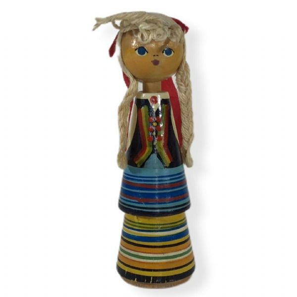 Vintage Wooden Folk Art Bobbin Peg DOLL 5